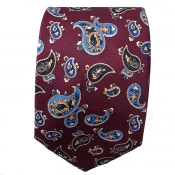 Warrior Clothing Warrior Mens Mod Style Burgundy Vintage Paisley Tie 1970s Look
