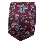 Warrior Mens Mod Style Burgundy Vintage Paisley Tie 1970s Look