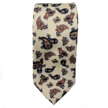 Warrior Clothing Warrior Mens Mod Style Cream Vintage Paisley Tie 1970s Look