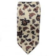 Warrior Mens Mod Style Cream Vintage Paisley Tie 1970s Look