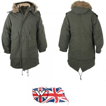 Warrior Clothing Warrior Mod Fishtail Vintage Parka Coat/Jacket Faux Fur Hood Green