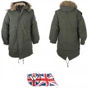 Warrior Mod Fishtail Vintage Parka Coat/Jacket Faux Fur Hood Green