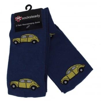 Warrior Clothing Warrior Retro VW Beetle Vintage Socksteady Socks pack of 2 pairs Blue