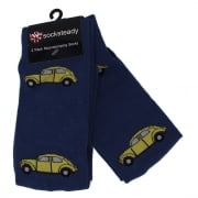Warrior Retro VW Beetle Vintage Socksteady Socks pack of 2 pairs Blue