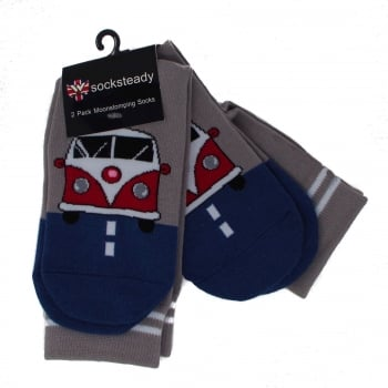 Warrior Clothing Warrior Retro VW Camper Vintage Socksteady Socks pack of 2 pairs Grey