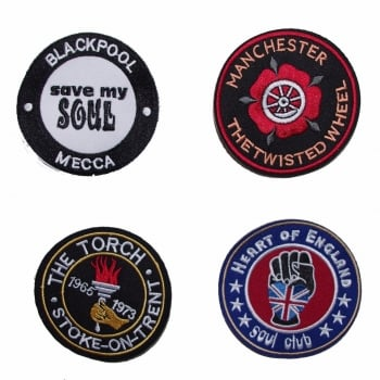 Warrior Clothing Warrior Set of 4 Northern Soul Clubs Emboidered Patches Badges