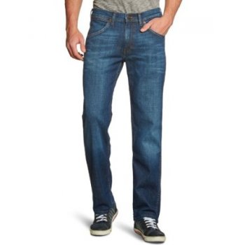 "Wrangler Ace 36"" Leg Straight Leg Jeans Stonewash Blue Used Look"