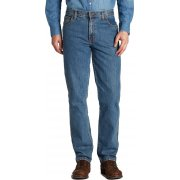 "Wrangler Texas Mens New Regular Fit Stretch 36"" Leg Jeans Stonewash Blue"