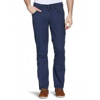 Wrangler Texas Mens New Regular Fit Stretch Hash Jeans Navy