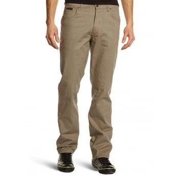 Wrangler Texas Mens Regular Fit Stretch Hash Jeans Light Olive