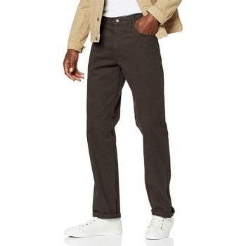 Wrangler Texas Mens Stretch Regular Fit Moleskin Jeans Brown