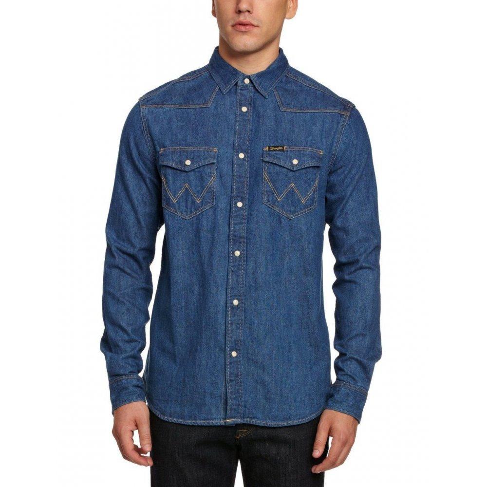 Wrangler authentic denim shirt stonewash blue for Wrangler denim shirts uk