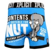 Xplicit Men's Funny Rude Allergies Geek Cartoon Novelty Boxer Shorts Trunks Directoire Blue