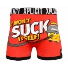 Xplicit Men's Funny Rude Loover Geek Cartoon Novelty Boxer Shorts Trunks Nautical Haute Red