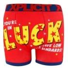Xplicit Men's Funny Rude Luck Geek Cartoon Novelty Boxer Shorts Trunks Firey Red