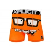 Xplicit Men's Funny Rude Nerd Geek Cartoon Novelty Boxer Shorts Trunks Orange Japonaise