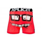 Xplicit Men's Funny Rude Nerd Geek Cartoon Novelty Boxer Shorts Trunks Teaberry