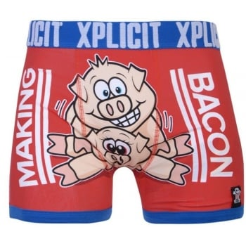 Xplicit Men's Funny Rude Porkies Cartoon Novelty Boxer Shorts Trunks Formula One