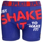 Xplicit Men's Funny Rude Shake It Geek Cartoon Novelty Boxer Shorts Trunks Mazarine Blue