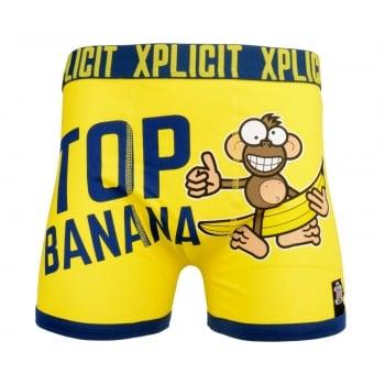 Xplicit Men's Funny Rude Top Banana Geek Cartoon Novelty Boxer Shorts Trunks Blazing Yellow