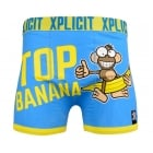 Xplicit Men's Funny Rude Top Banana Geek Cartoon Novelty Boxer Shorts Trunks Directoire Blue