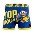 Xplicit Men's Funny Rude Top Banana Geek Cartoon Novelty Boxer Shorts Trunks Estate Blue