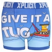 Xplicit Men's Funny Rude Tugger Geek Cartoon Novelty Boxer Shorts Trunks Turkish Sea