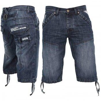 Enzo EZS243 Jeans Designer Branded Denim Combat Shorts Vintage Stonewash