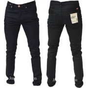 Designer Super Skinny Leg Stretch Jeans Jet Black